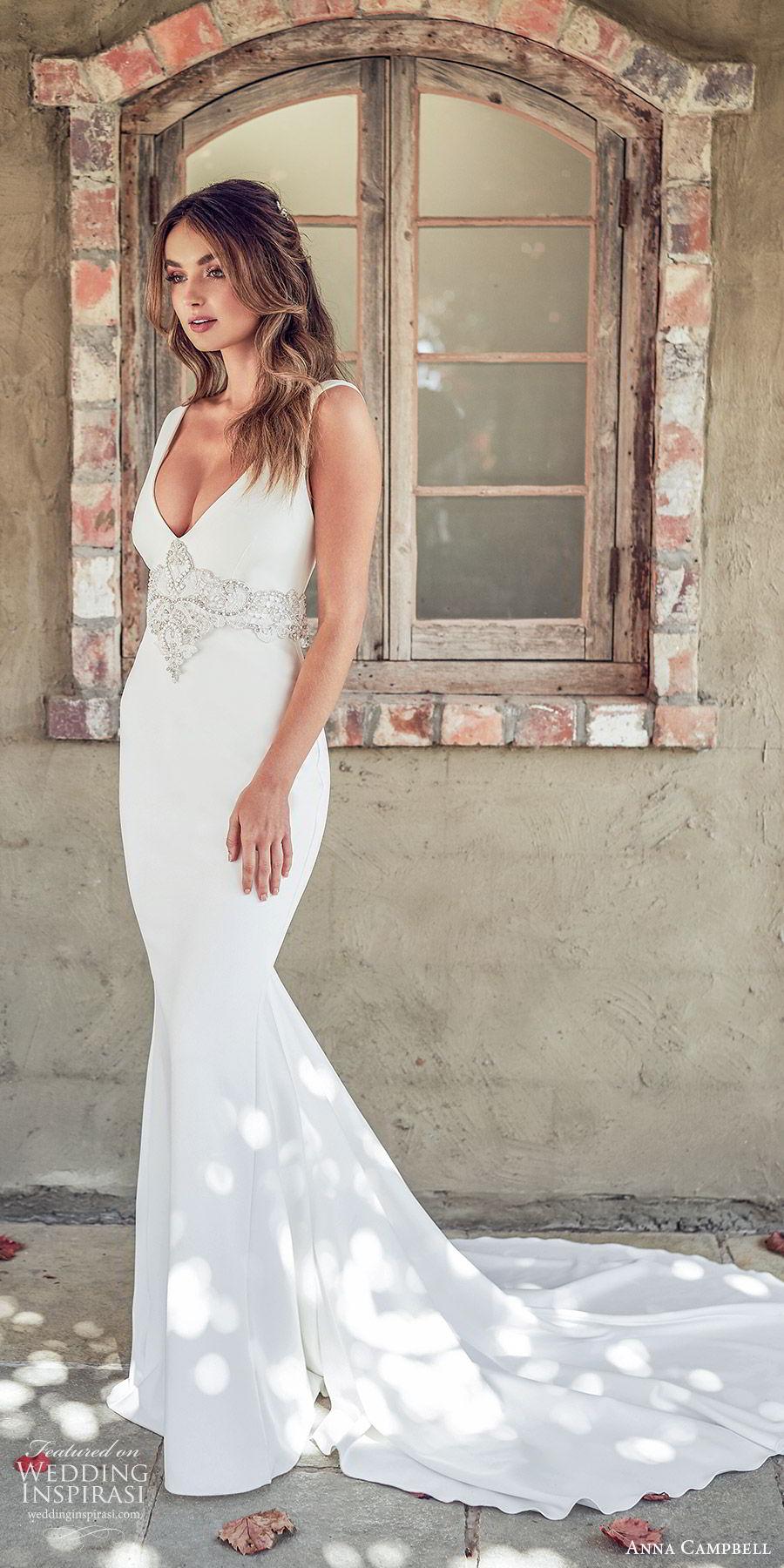 anna campbell 2020 bridal sleeveless thick straps deep v neckline embellished waist mermaid trumpet sheath wedding dress (7) elegant sexy clean modern open back chapel train mv