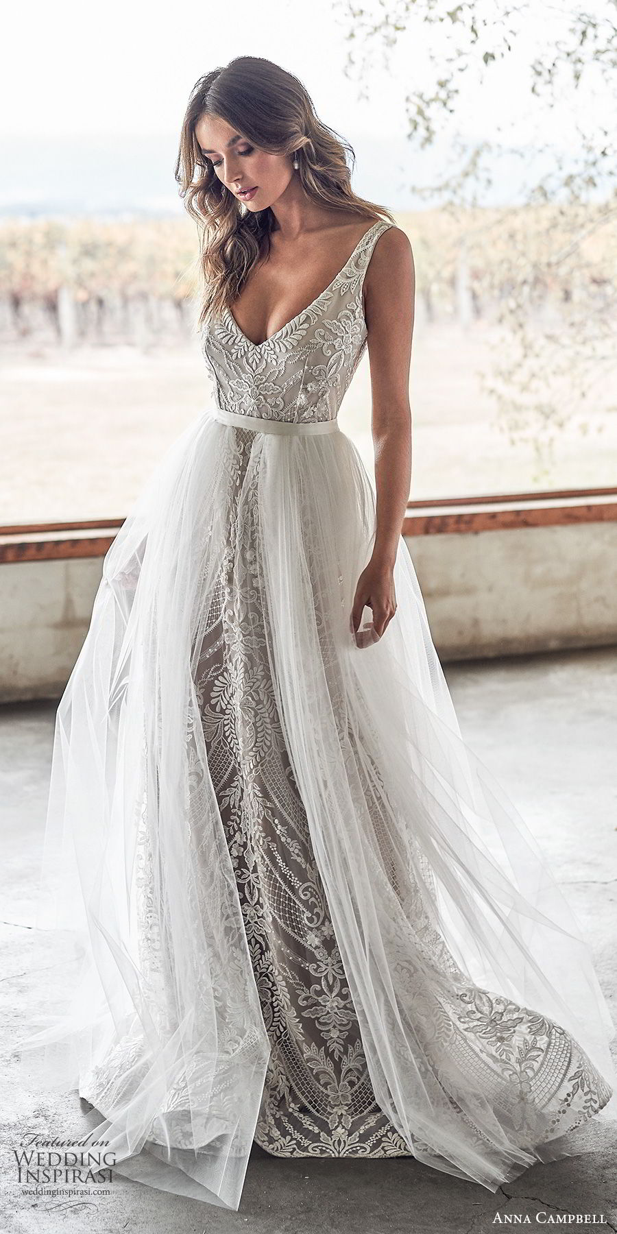 anna campbell 2020 bridal sleeveless thick straps deep v neckline fully embellished embroidered lace sheath wedding dress a line ball gown overskirt (9) elegant sexy v back chapel train mv