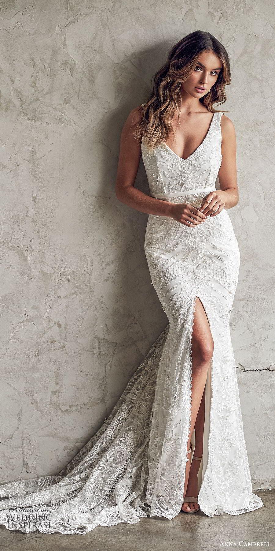 anna campbell 2020 bridal sleeveless thick straps deep v neckline fully embellished embroidered lace sheath wedding dress slit skirt (9) elegant sexy v back chapel train mv