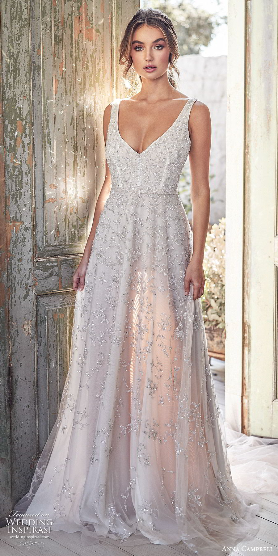 anna campbell 2020 bridal sleeveless thick straps fully embellished ball gown a line wedding dress (4) romantic glitzy blush color chapel train mv