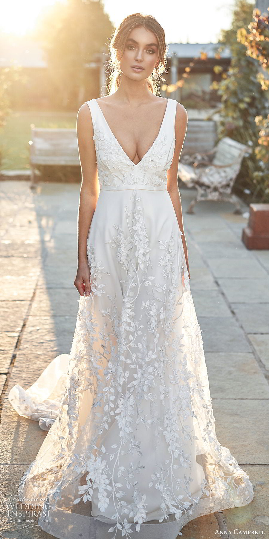 anna campbell 2020 bridal sleeveless thick straps plunging v neckline fully embellished a line wedding dress (14) elegant romantic open back chapel train mv