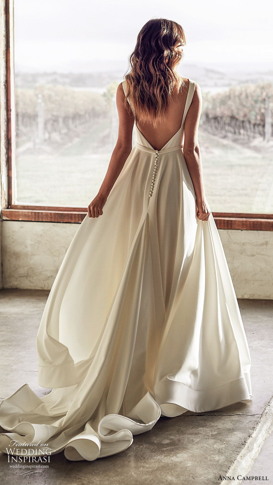 anna campbell 2020 bridal sleeveless thick straps plunging v neckline minimally embellished ball gown a line wedding dress (6) clean modern low v back chapel train bv