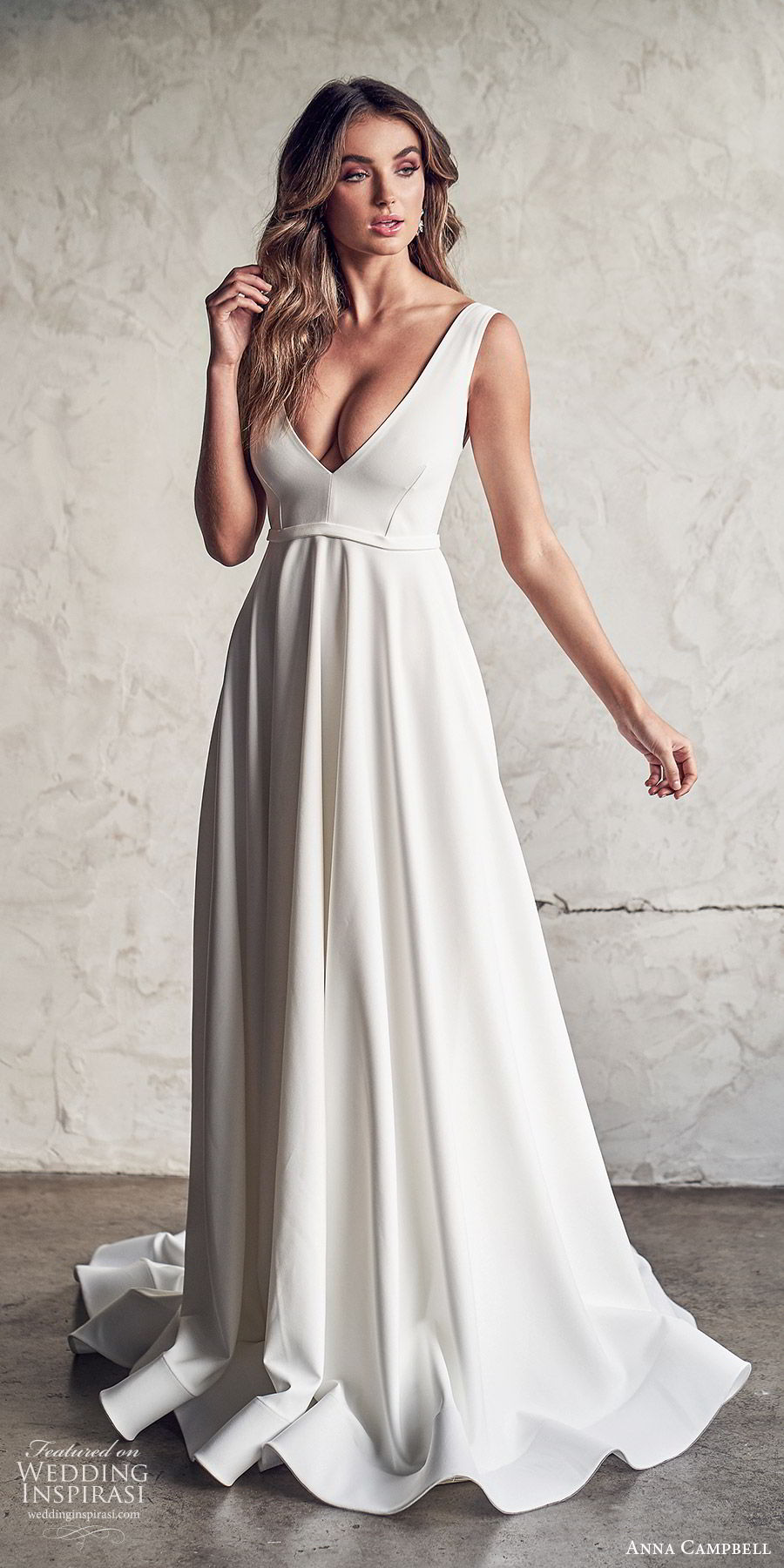 anna campbell 2020 bridal sleeveless thick straps plunging v neckline minimally embellished ball gown a line wedding dress (6) clean modern low v back chapel train mv