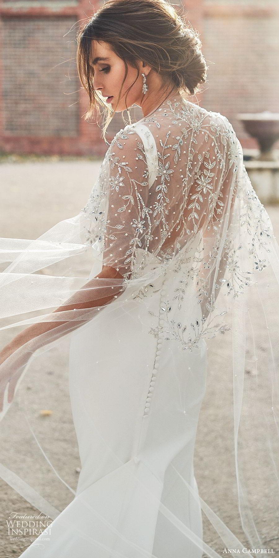 anna campbell 2020 bridal sleeveless thick straps plunging v neckline minimally embellished mermaid trumpet sheath wedding dress (6) clean modern low v back chapel train cape zbv
