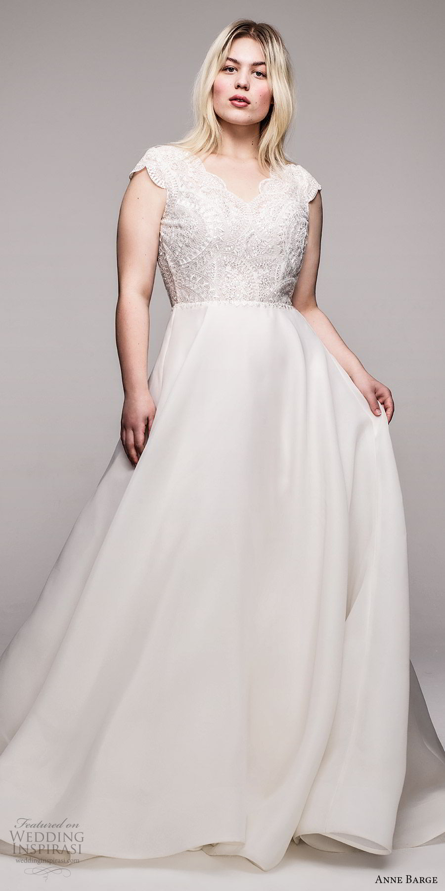 anne barge 2020 bridal plus size cap sleeves v neckline embellished bodice a line ball gown wedding dress (7) romantic chapel train mv