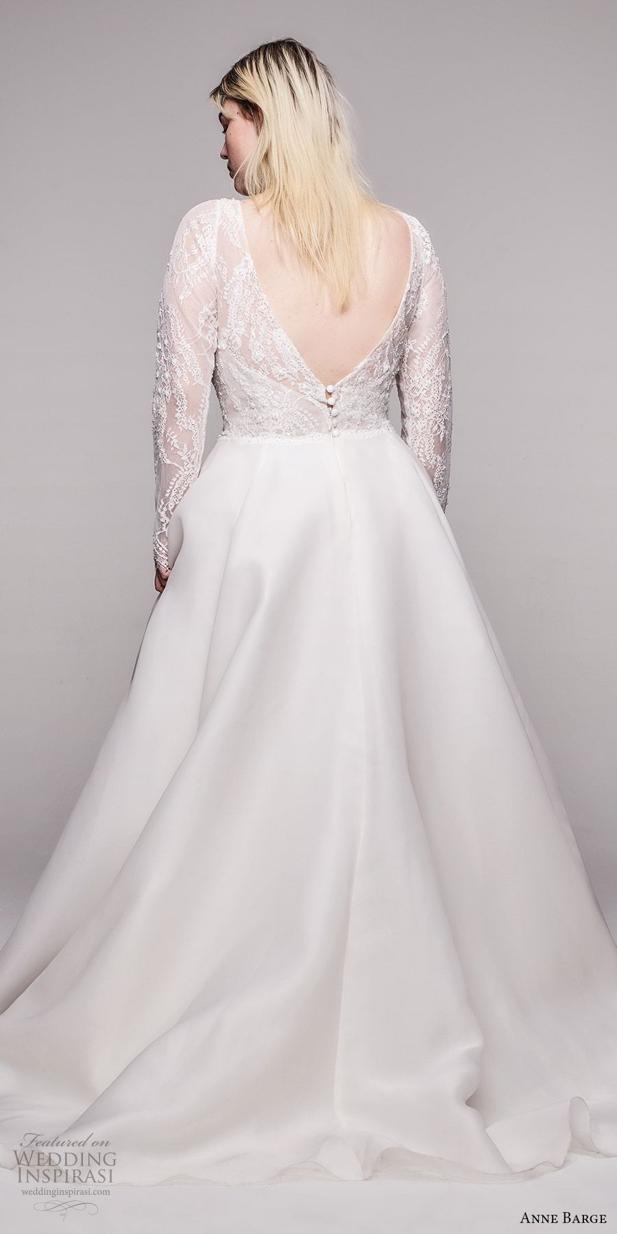 anne barge 2020 bridal plus size illusion long sleeves v neckling embellished lace bodice a line ball gown wedding dress (8) romantic elegant chapel train bv