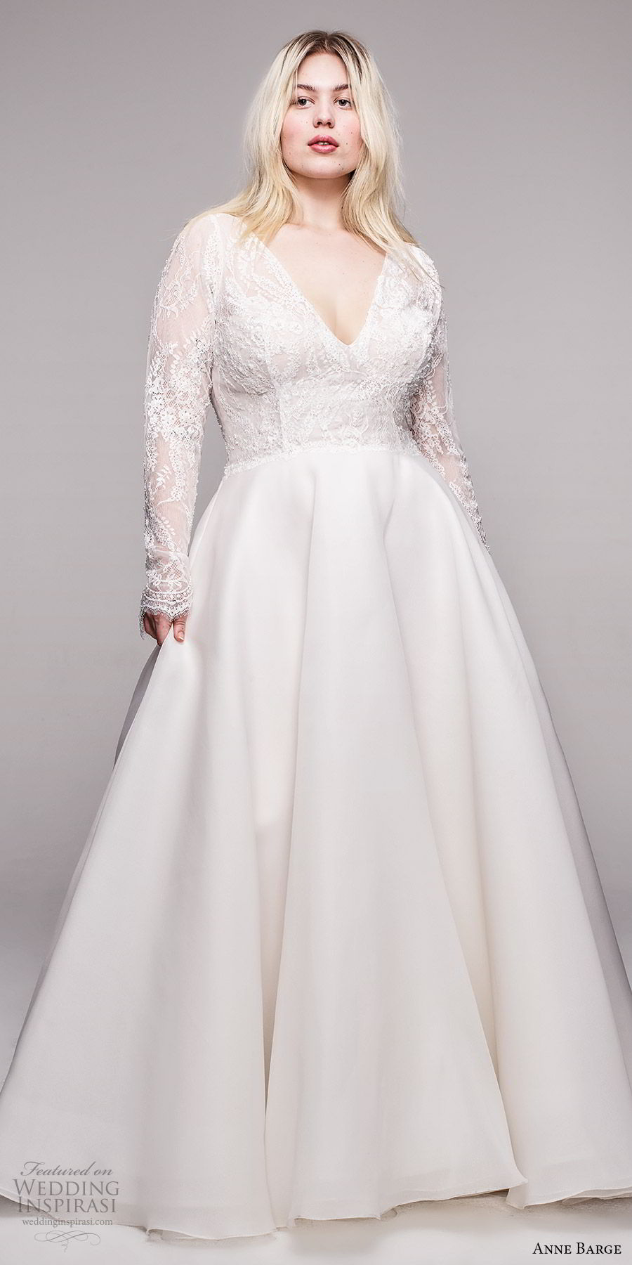 anne barge 2020 bridal plus size illusion long sleeves v neckling embellished lace bodice a line ball gown wedding dress (8) romantic elegant chapel train mv