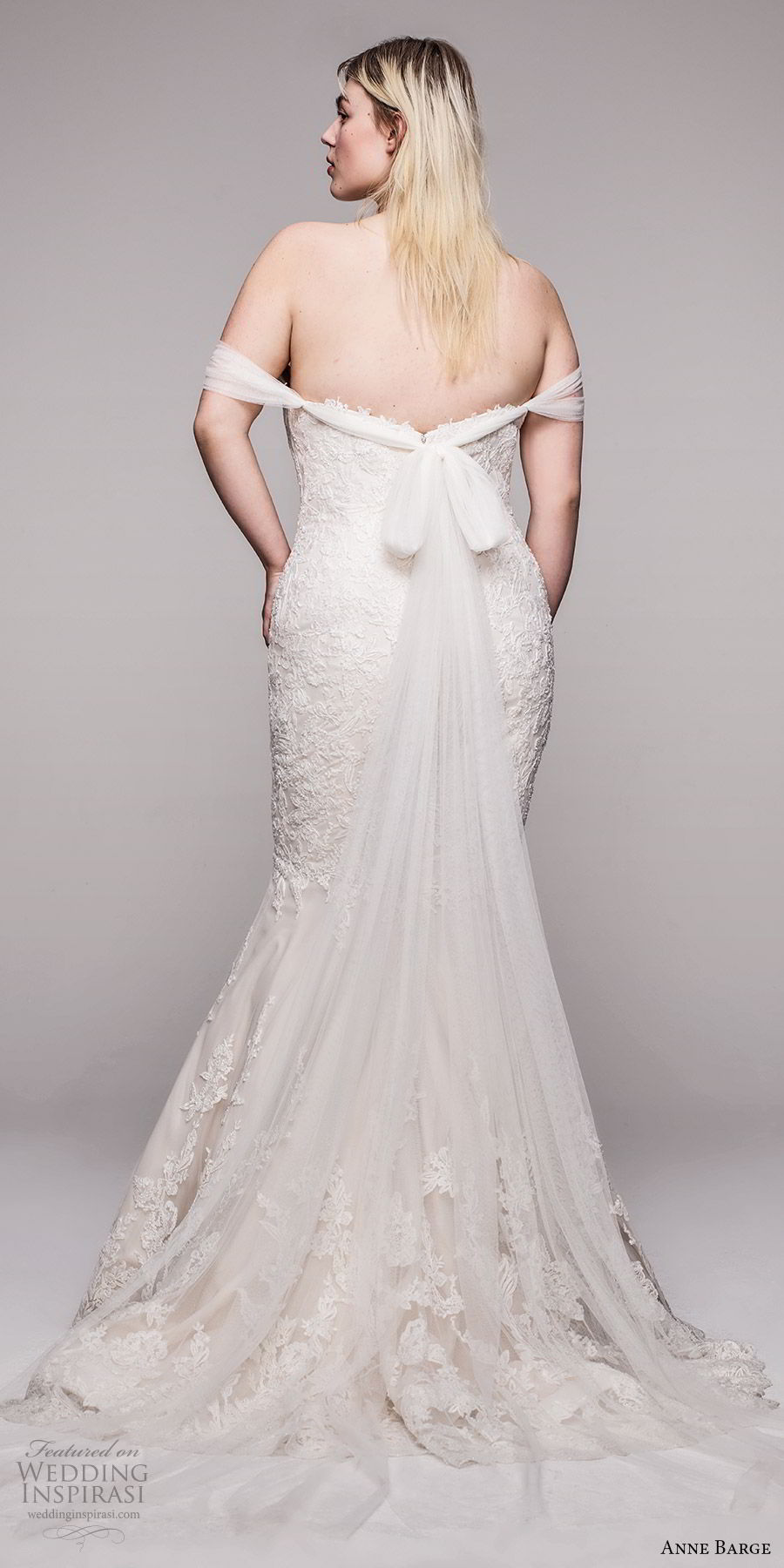 anne barge 2020 bridal plus size off shoulder semi sweetheart fully embellished lace fit flare trumpet wedding dress (10) elegant romantic chapel train bv