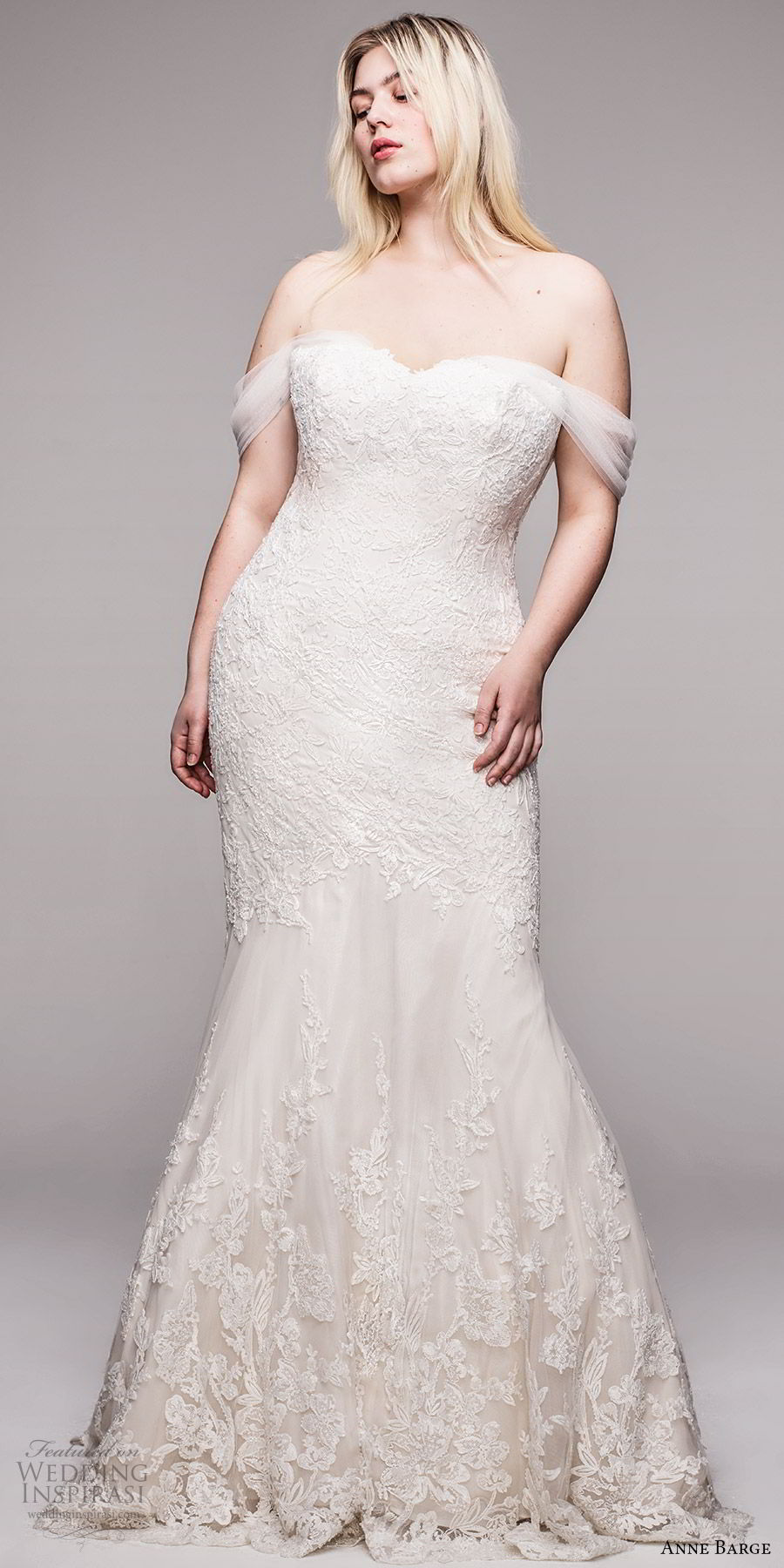 anne barge 2020 bridal plus size off shoulder semi sweetheart fully embellished lace fit flare trumpet wedding dress (10) elegant romantic chapel train mv