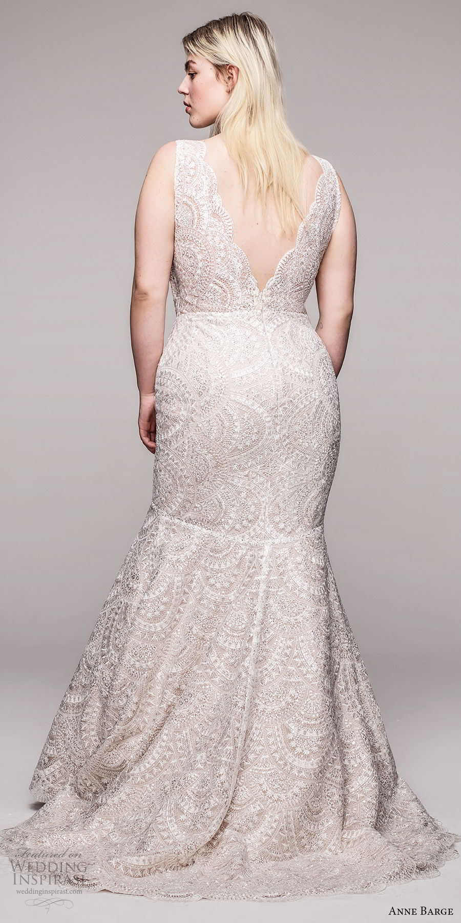 anne barge 2020 bridal plus size sleeveless thick straps v neckline embellished lace fit flare mermaid wedding dress (2) v back elegant chapel train bv
