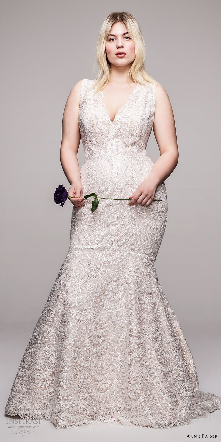 anne barge 2020 bridal plus size sleeveless thick straps v neckline embellished lace fit flare mermaid wedding dress (2) v back elegant chapel train mv