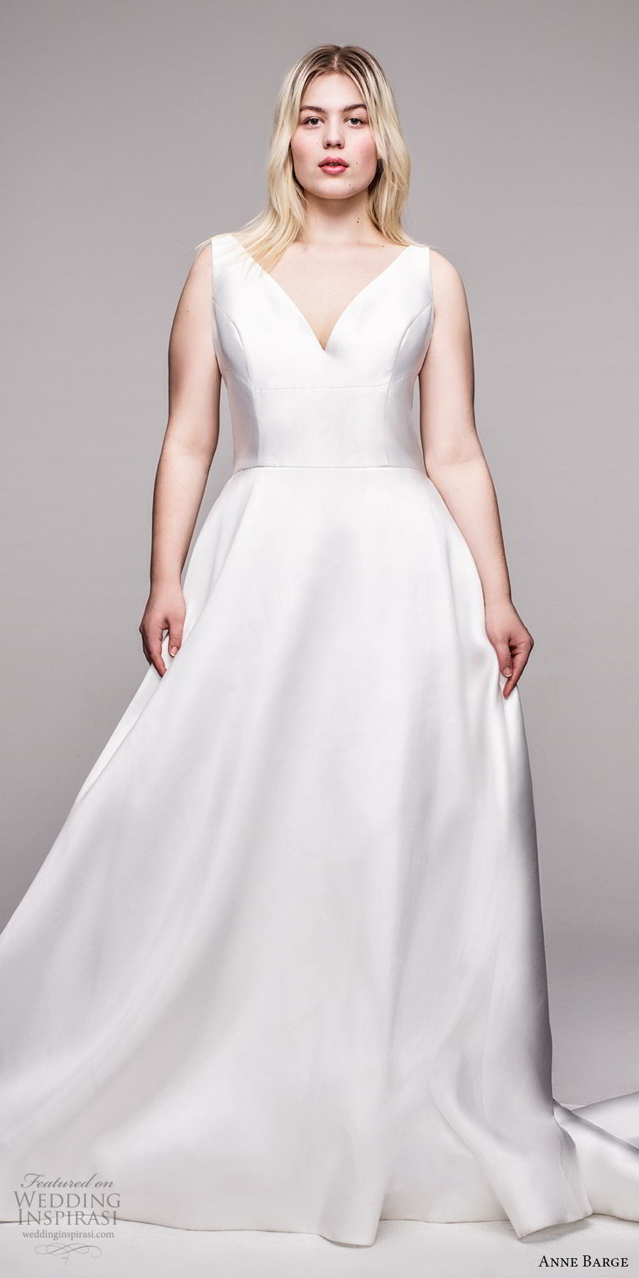 anne barge 2020 bridal plus size sleeveless v neckline minimally embellished a line ball gown (9) minimalist clean modern v back bow chapel train mv