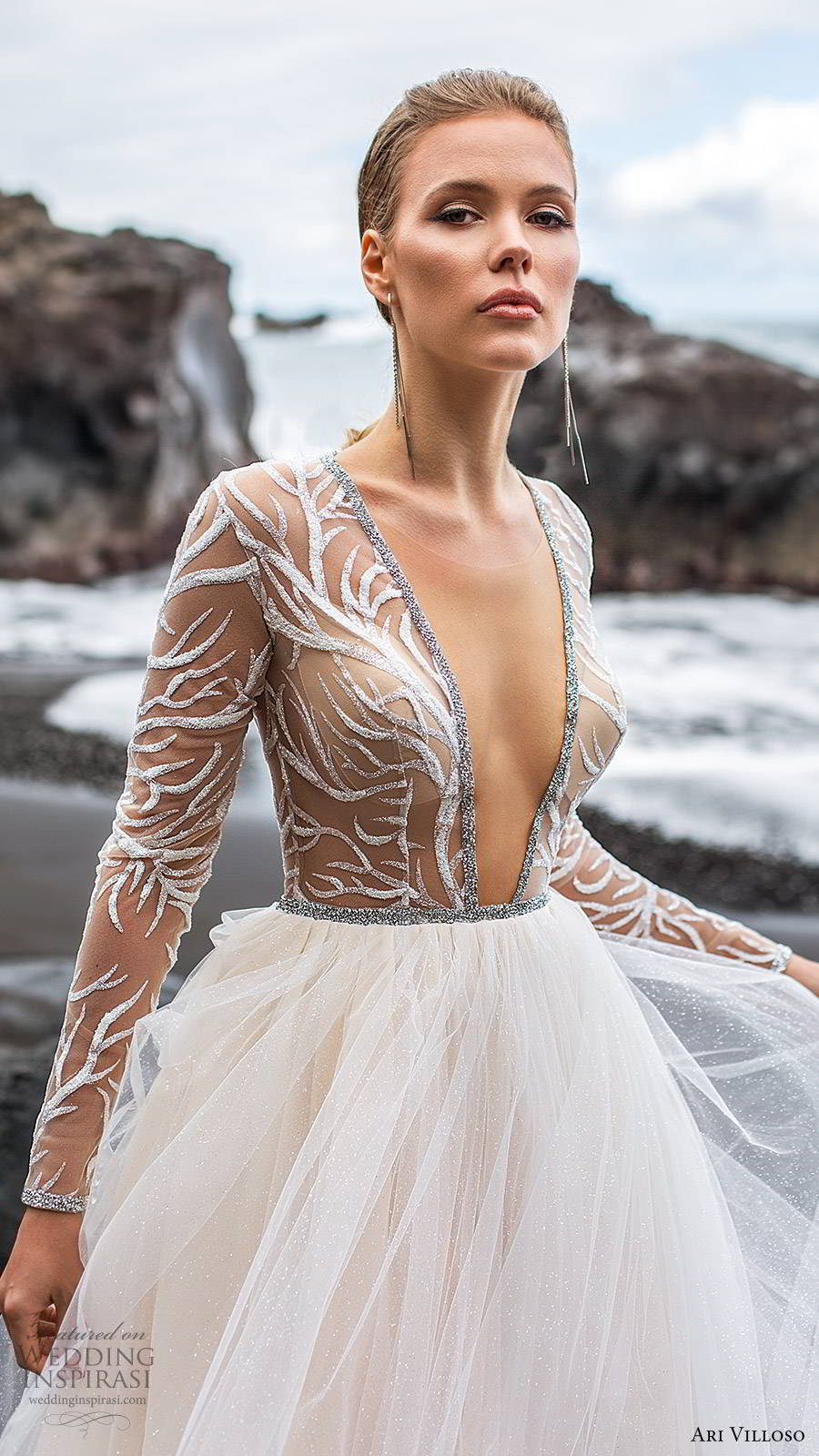 ari villoso 2020 bridal illusion long sleeves deep v neckline sheer embellished bodice a line ball gown wedding dress (13) romantic modern chapel train zv