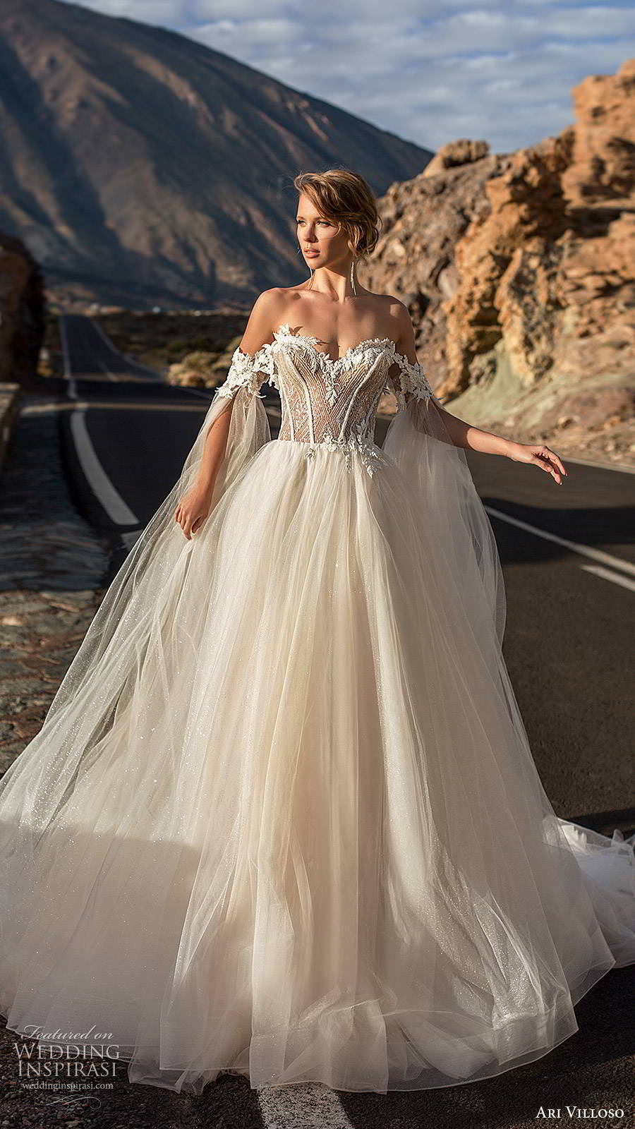 ari villoso 2020 bridal off shoulder sweetheart neckline embellished bodice a line ball gown wedding dress (15) romantic princess sheer corset back chapel train mv