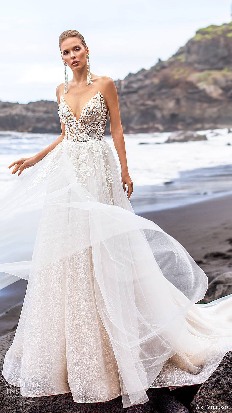 ari villoso 2020 bridal sleeveless illusion straps sweetheart sheer embellished bodice a line ball gown wedding dress (4) romantic sheer back chapel train mv