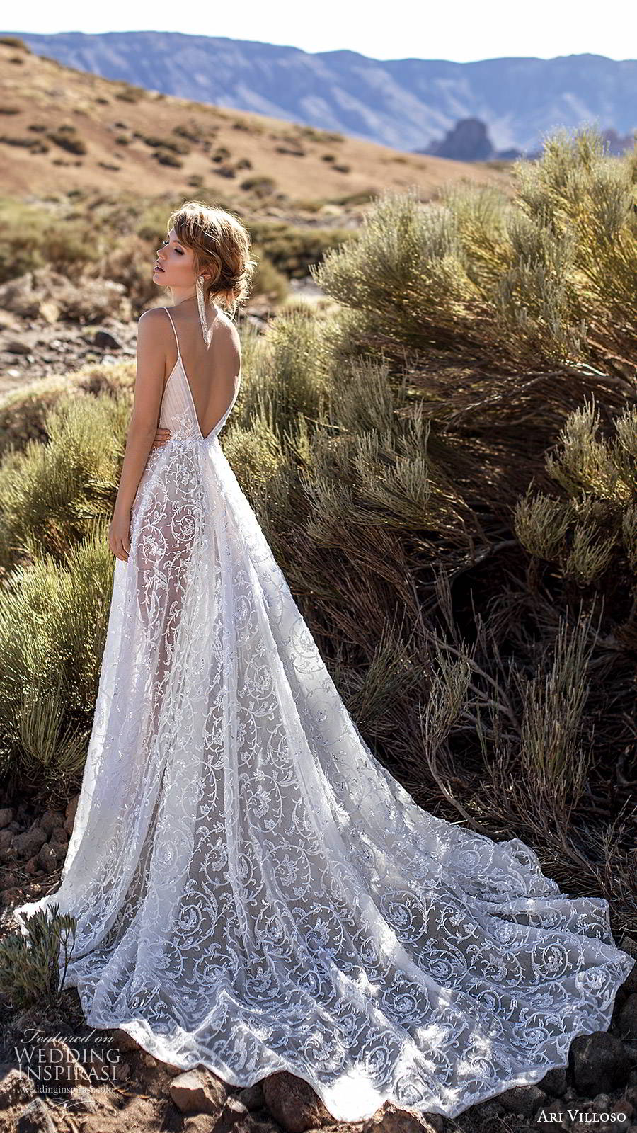 ari villoso 2020 bridal sleeveless thin straps plunging v neckline slit sheer skirt a line wedding dress (3) sexy boho v back chapel train bv
