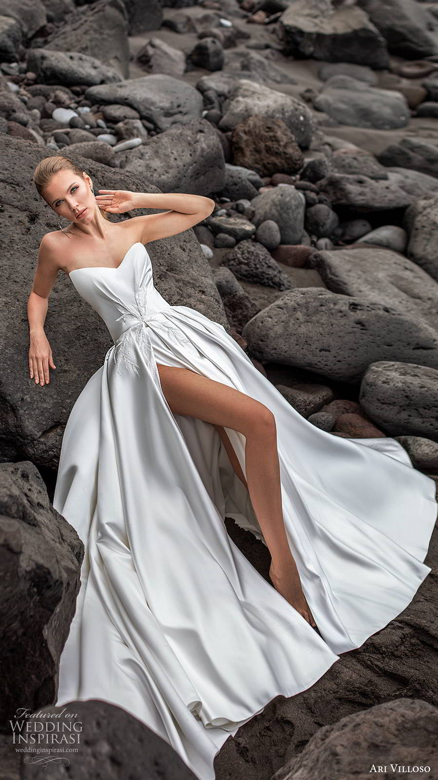 ari villoso 2020 bridal strapless semi sweetheart ruched embellished bodice clean slit skirt a line ball gown wedding dress (19) modern minimalist chapel train mv