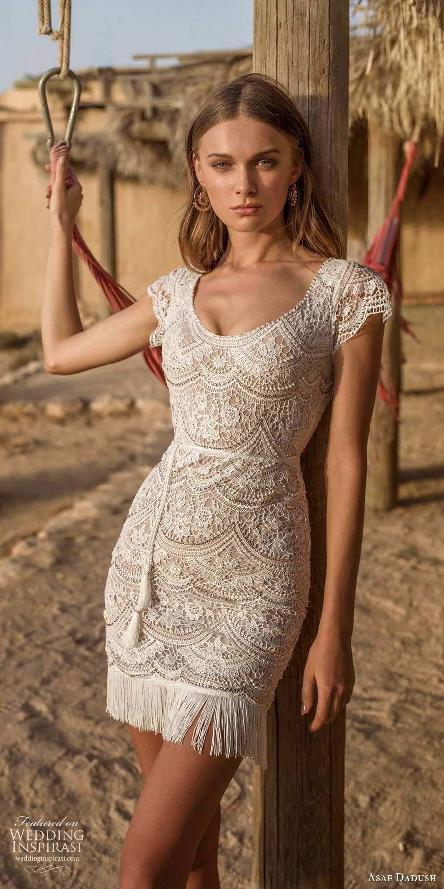 asaf dadush 2019 bridal cap sleeves scoop neckline fully embellished lace romantic boho short wedding dress (12) mv