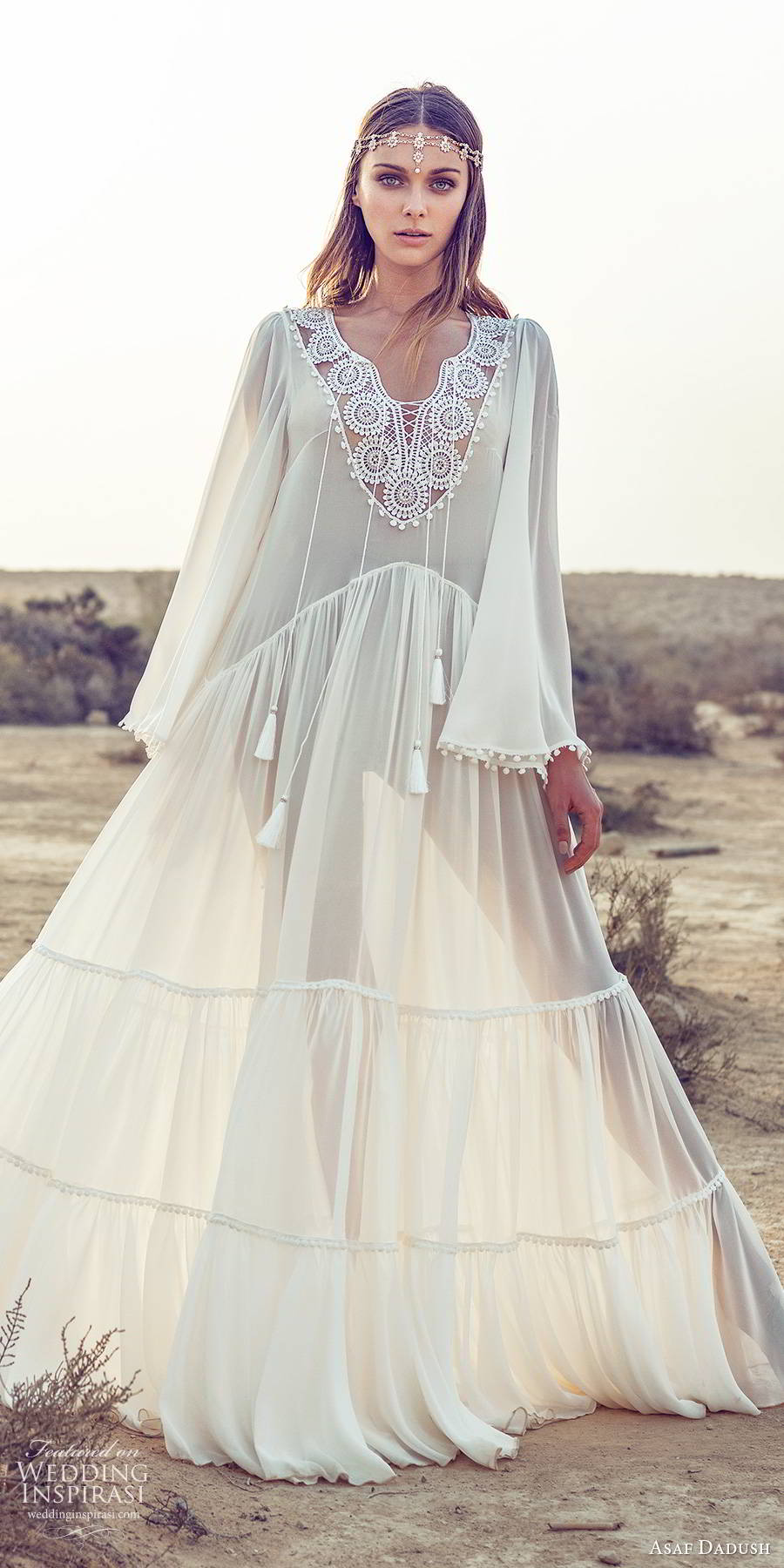 asaf dadush 2019 bridal flare long sleeves embellished v neckline sheer kaftan tent romantic boho chic a line wedding dress (13) mv