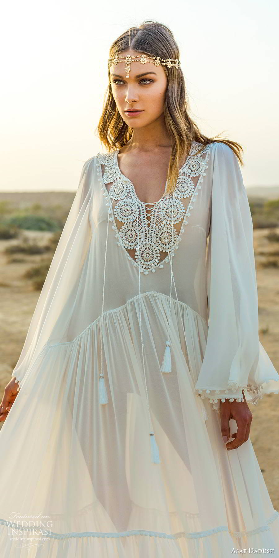 asaf dadush 2019 bridal flare long sleeves embellished v neckline sheer kaftan tent romantic boho chic a line wedding dress (13) zv
