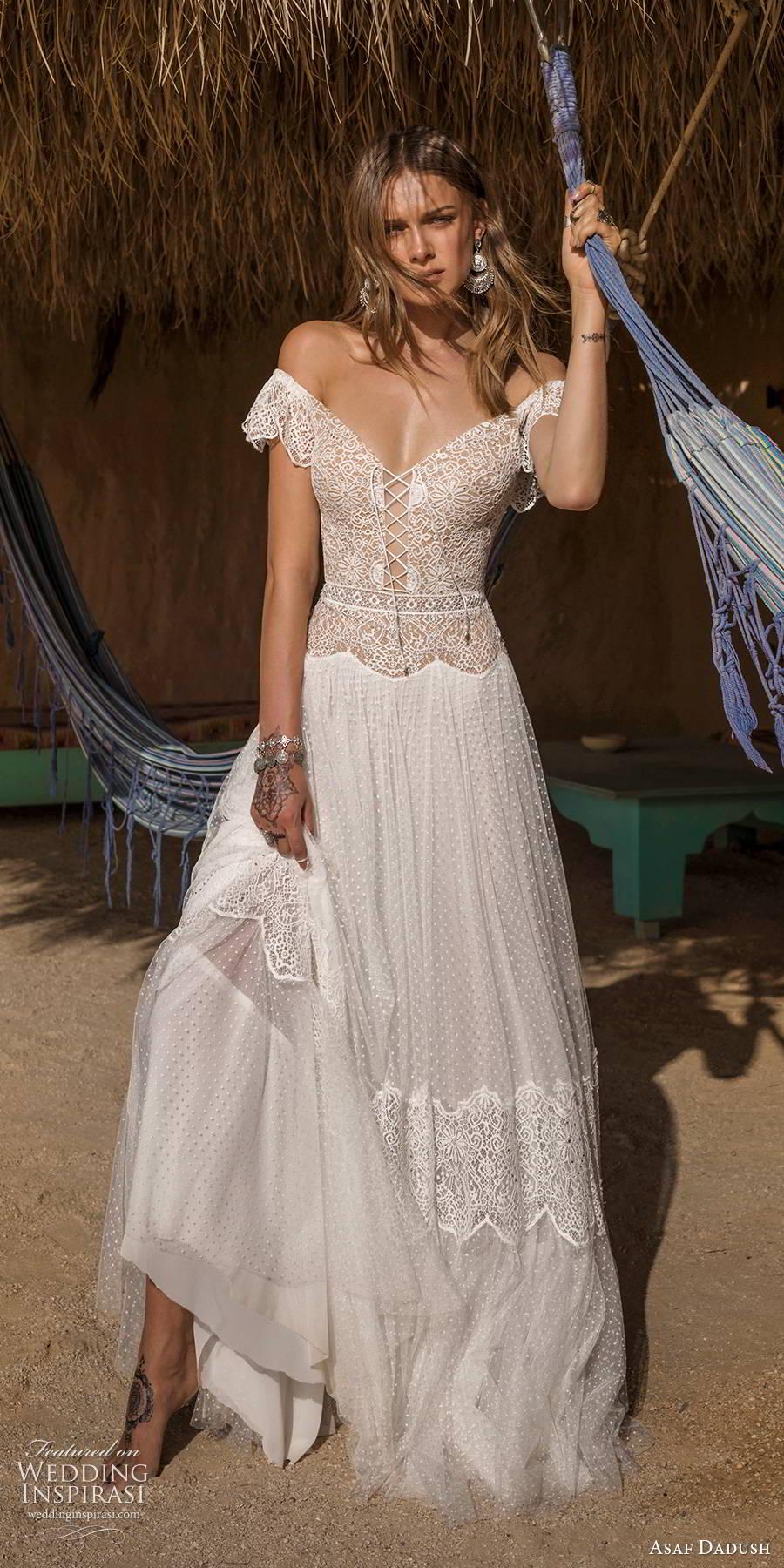 asaf dadush 2019 bridal flutter sleeves off shoulder v neckline embellished bodice romantic boho a line wedding dress (11) mv