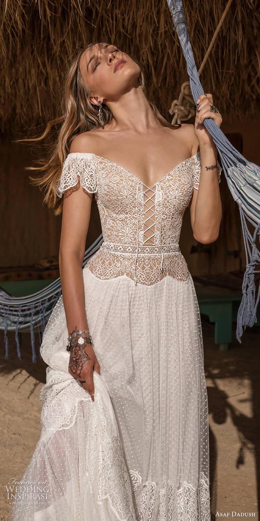 asaf dadush 2019 bridal flutter sleeves off shoulder v neckline embellished bodice romantic boho a line wedding dress (11) zv