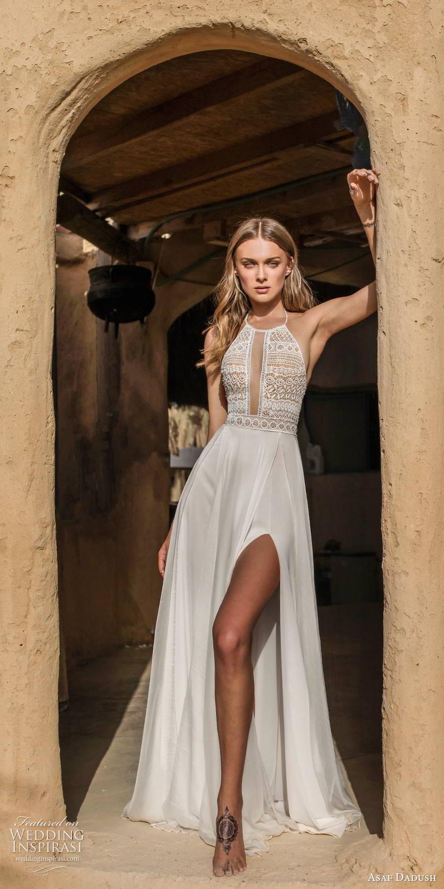 asaf dadush 2019 bridal sleeveless halterneck embellished cutout bodice clena skirt boho romantic a line wedding dress (10) mv