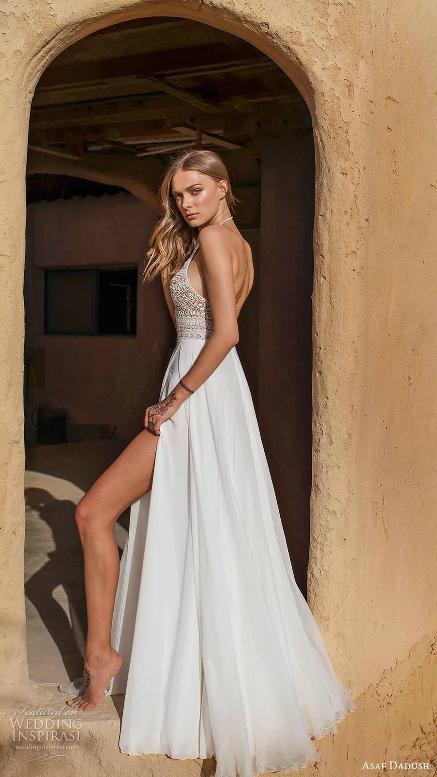 asaf dadush 2019 bridal sleeveless halterneck embellished cutout bodice clena skirt boho romantic a line wedding dress (10) sv