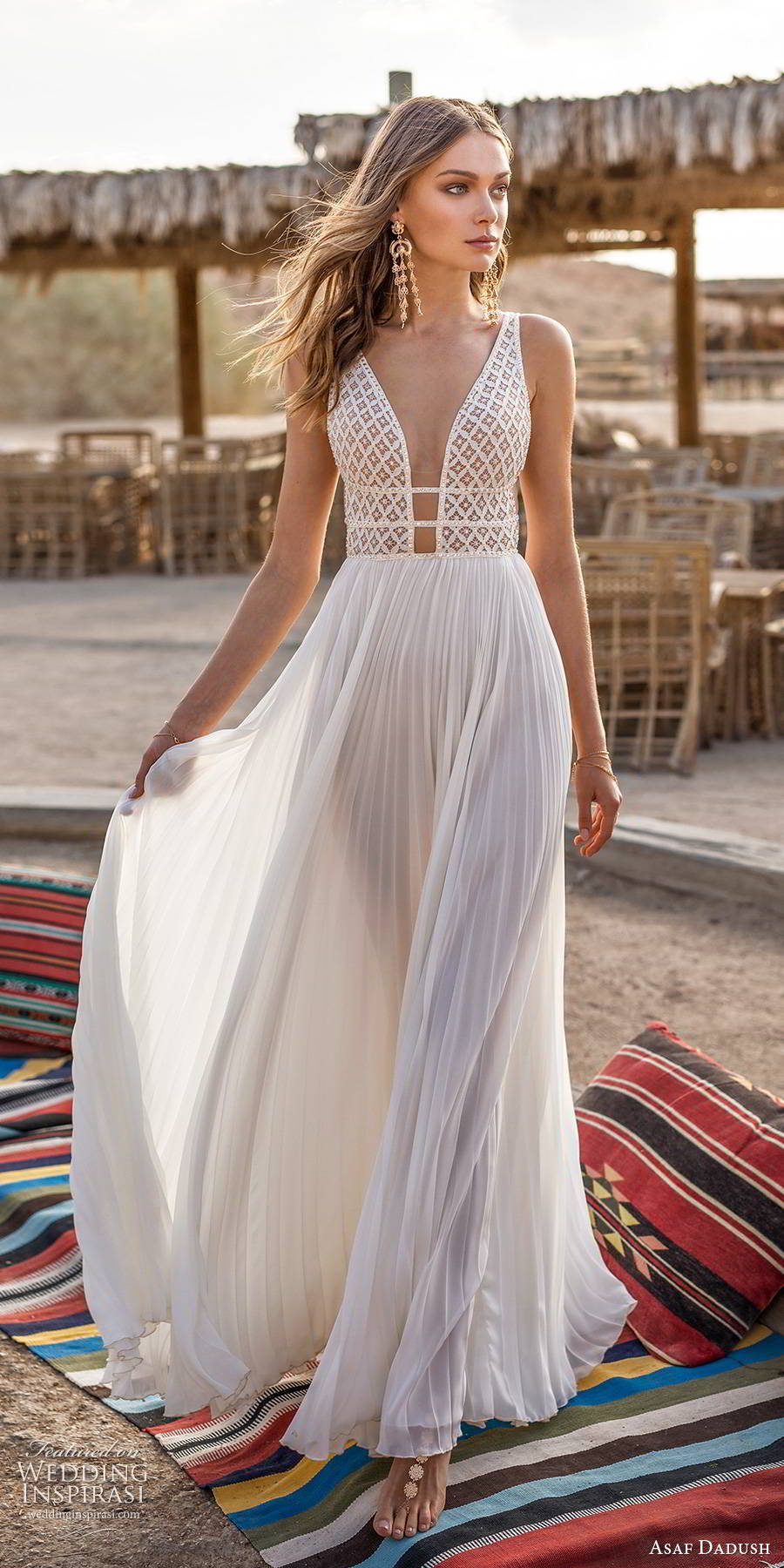 asaf dadush 2019 bridal sleeveless thick straps plunging v neckline embellished bodice pleated skirt soft a line wedding dress low back (4) mv