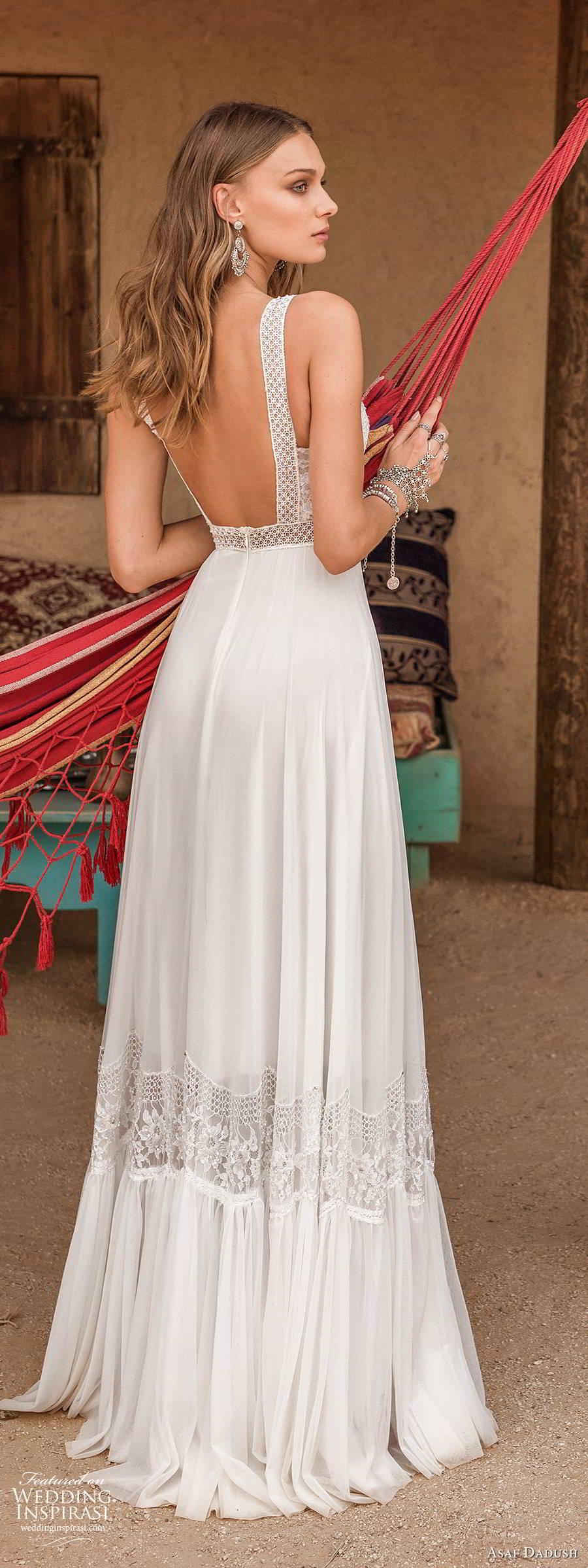 asaf dadush 2019 bridal sleeveless thick straps v neckline embellished bodice romantic a line ball gown wedding dress (3) bv