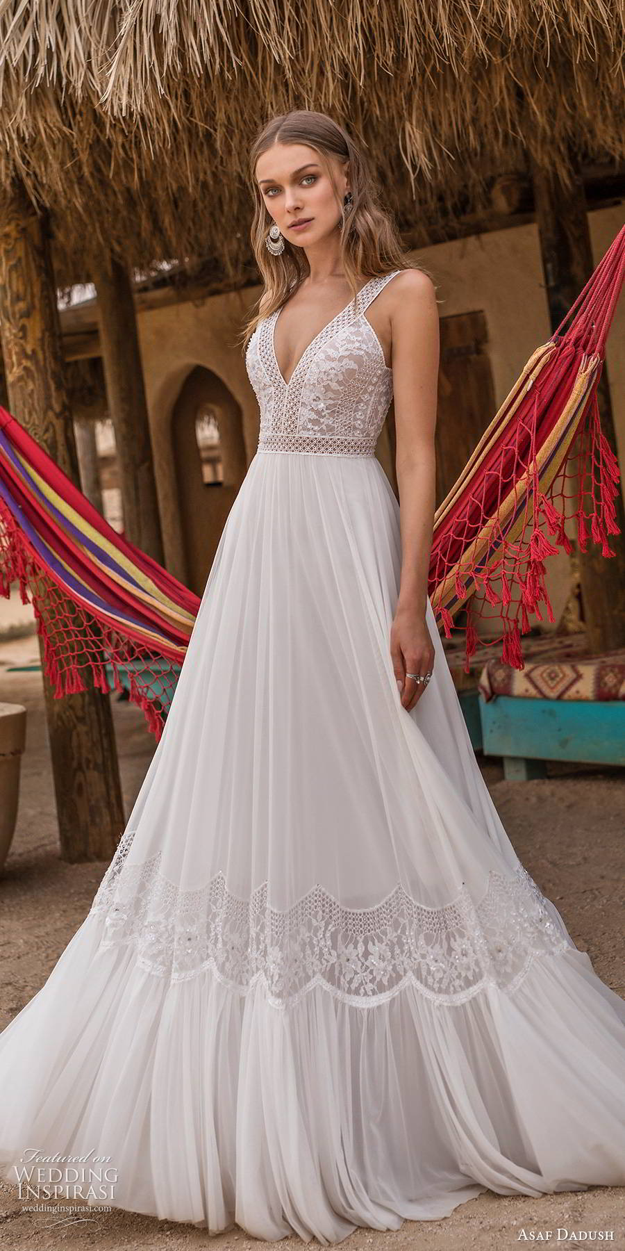 asaf dadush 2019 bridal sleeveless thick straps v neckline embellished bodice romantic a line ball gown wedding dress (3) mv