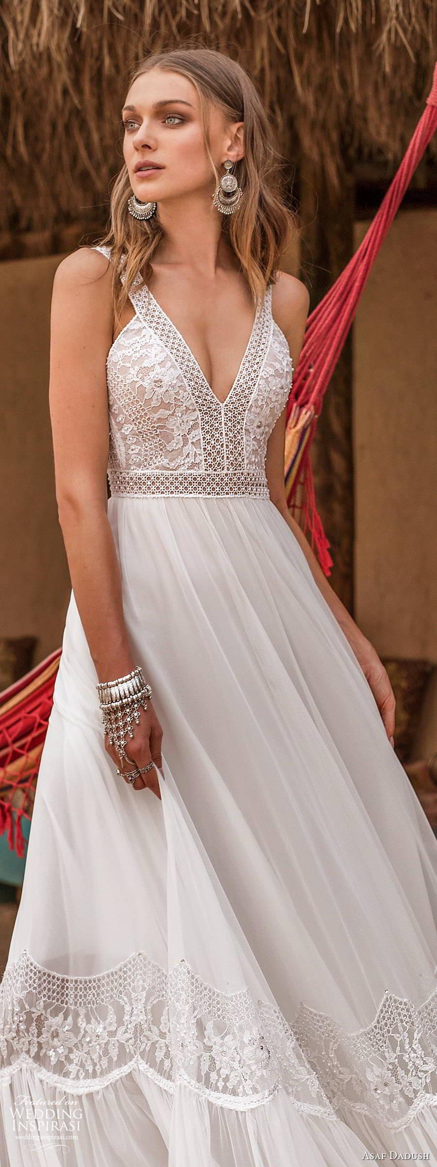 asaf dadush 2019 bridal sleeveless thick straps v neckline embellished bodice romantic a line ball gown wedding dress (3) zv