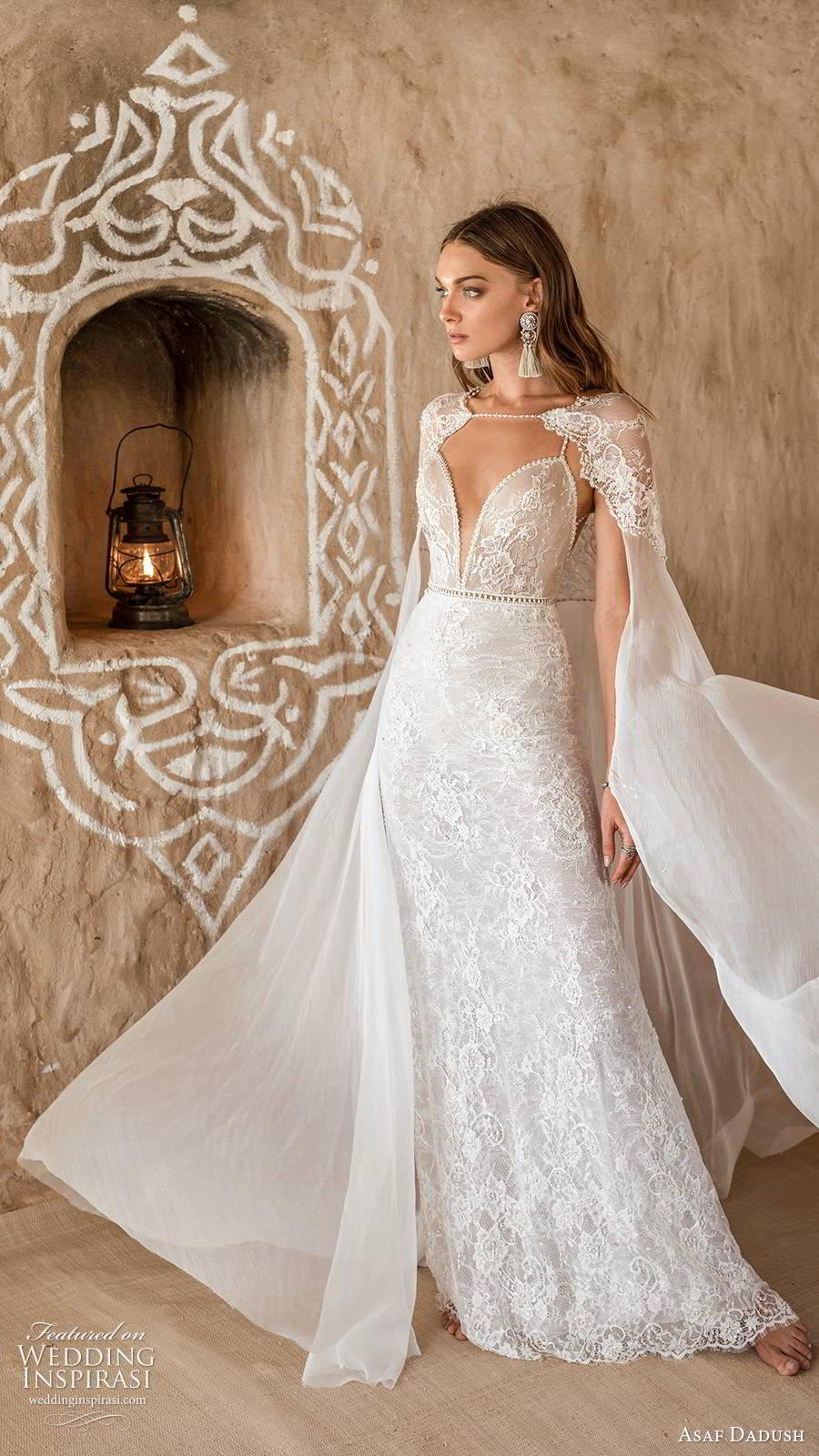 asaf dadush 2019 bridal sleeveless thin beaded straps plunging sweetheart neckline fully embellished lace glam sheath wedding dress sheer cape sweep train mv (1) mv