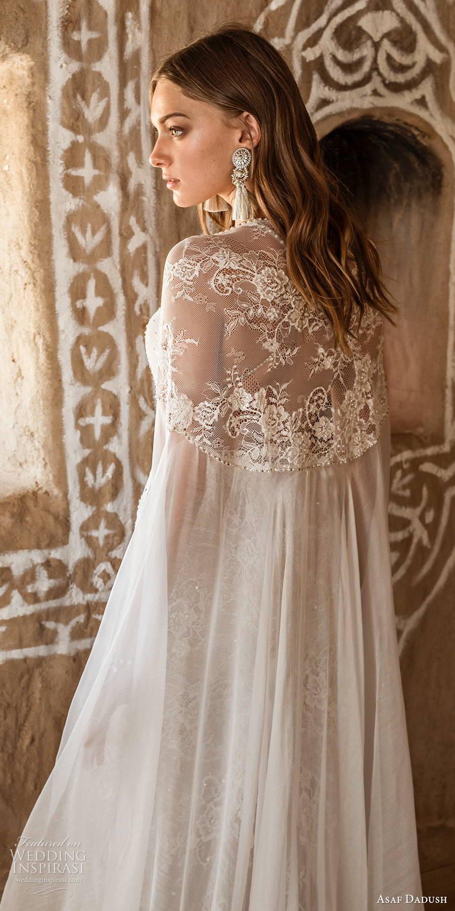 asaf dadush 2019 bridal sleeveless thin beaded straps plunging sweetheart neckline fully embellished lace glam sheath wedding dress sheer cape sweep train mv (1) zbv
