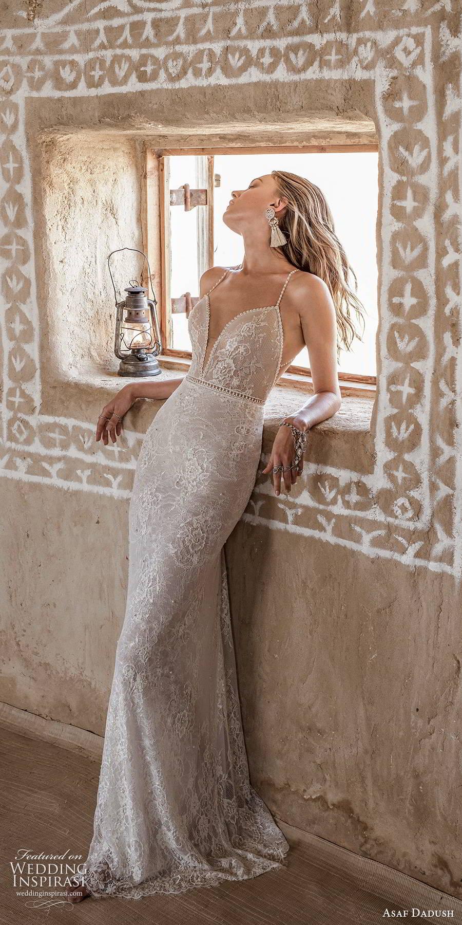 asaf dadush 2019 bridal sleeveless thin beaded straps plunging sweetheart neckline fully embellished lace glam sheath wedding dress sweep train mv (1) mv