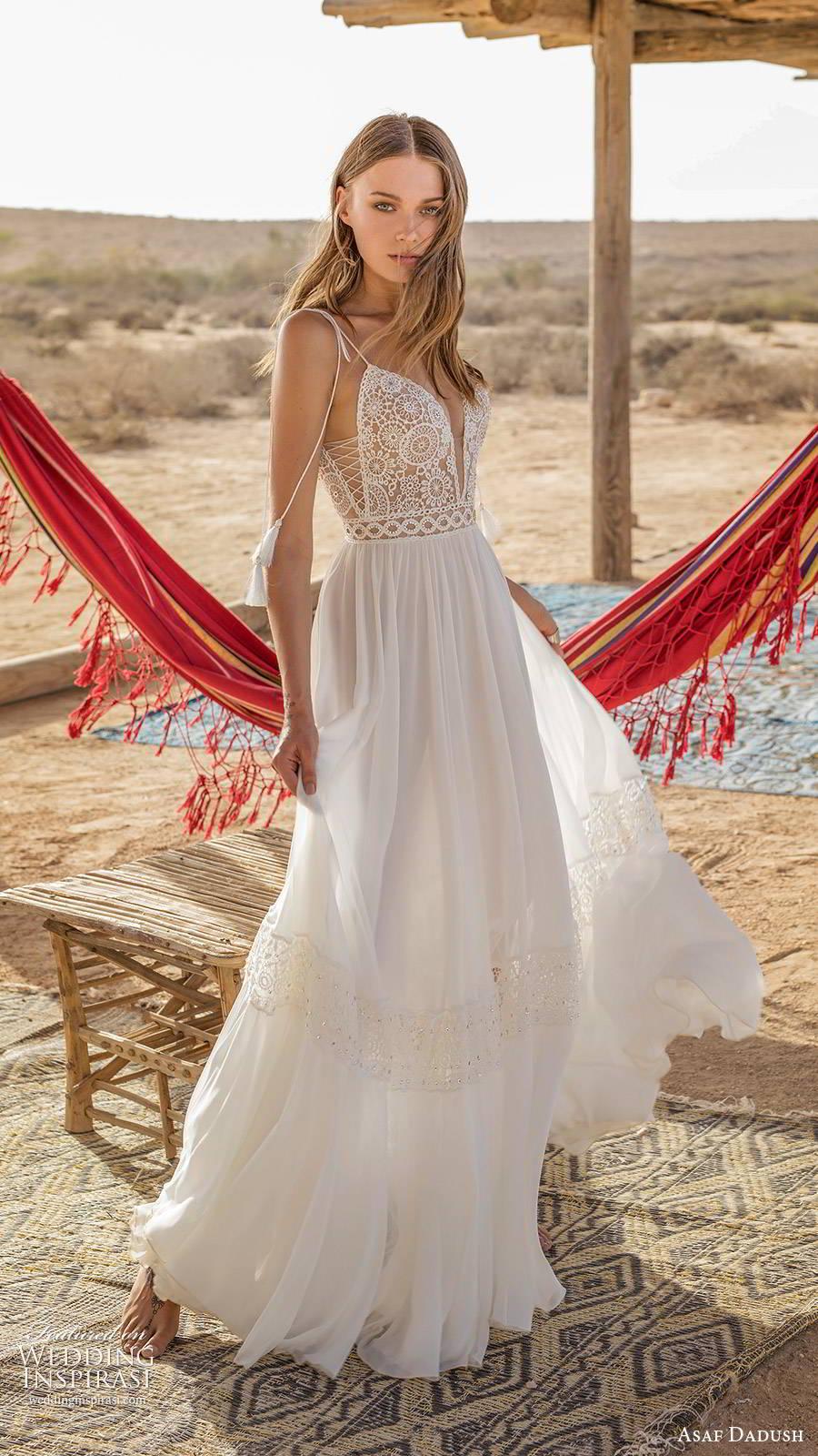 asaf dadush 2019 bridal sleeveless thin straps plunging v neckline embellished bodice romantic boho a line wedding dress low back sweep train (8) sv
