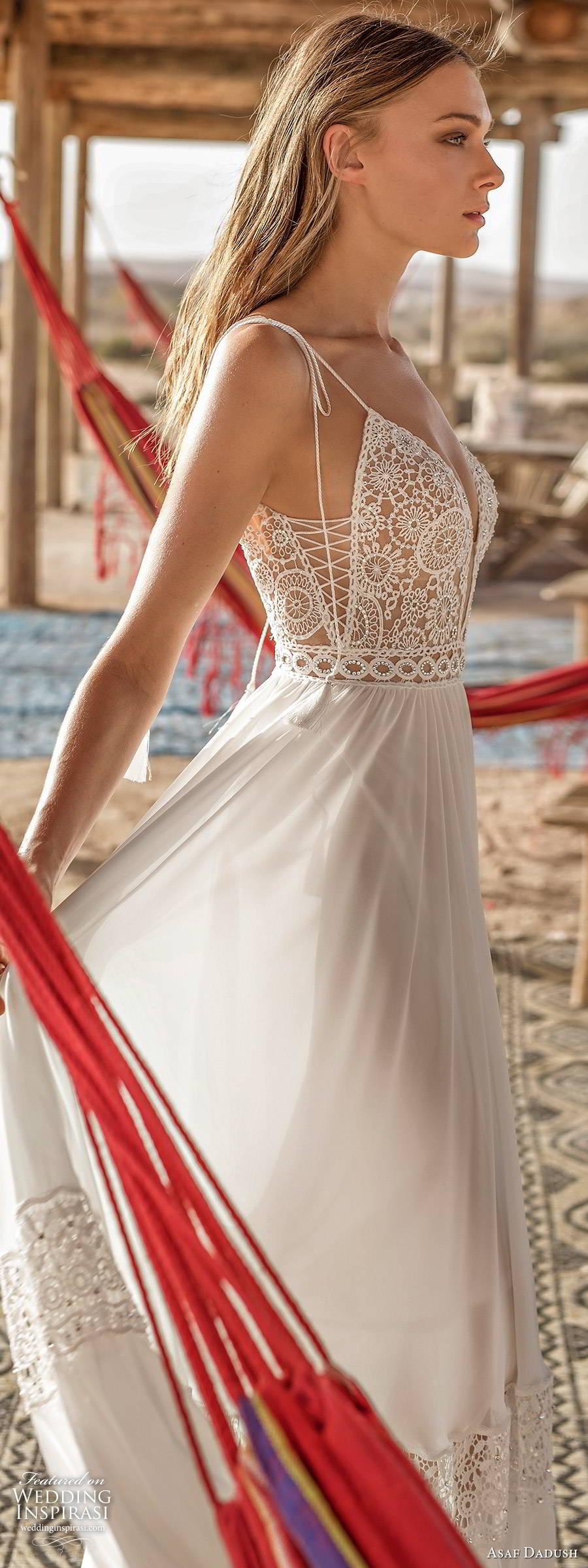 asaf dadush 2019 bridal sleeveless thin straps plunging v neckline embellished bodice romantic boho a line wedding dress low back sweep train (8) zsv