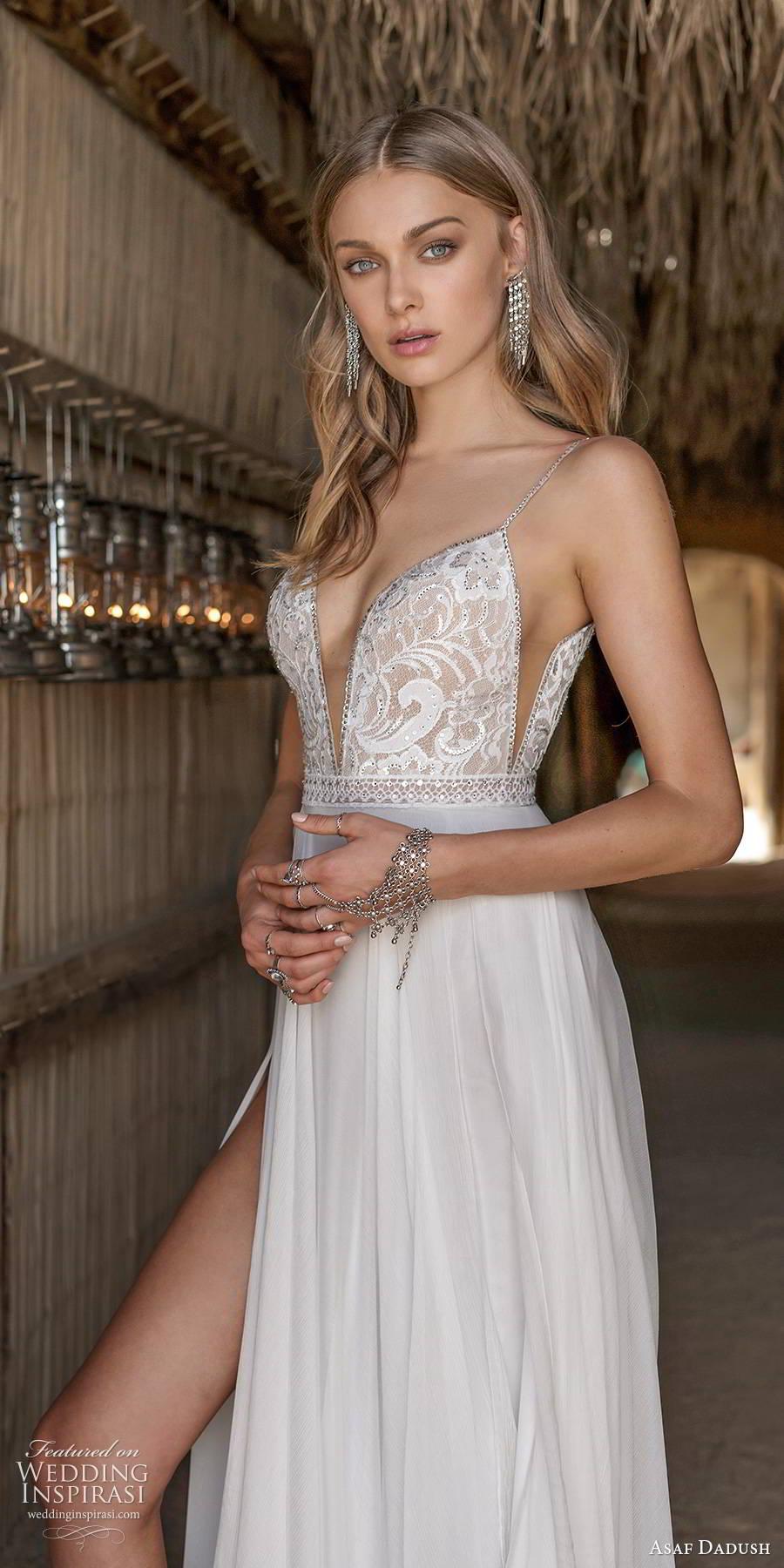asaf dadush 2019 bridal sleeveless thin straps plunging v neckline embellished bodice slit skirt sexy a line wedding dress (6) zv