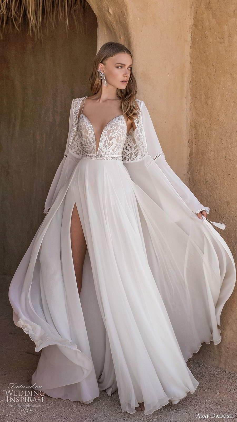asaf dadush 2019 bridal sleeveless thin straps plunging v neckline embellished bodice slit skirt sexy a line wedding dress jacket (6) mv