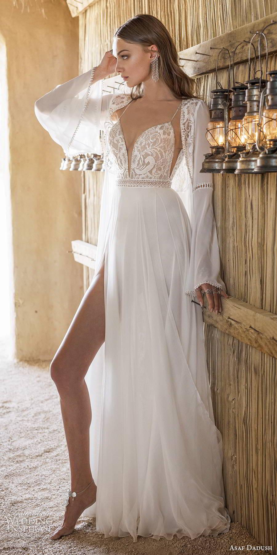 asaf dadush 2019 bridal sleeveless thin straps plunging v neckline embellished bodice slit skirt sexy a line wedding dress jacket (6) sv