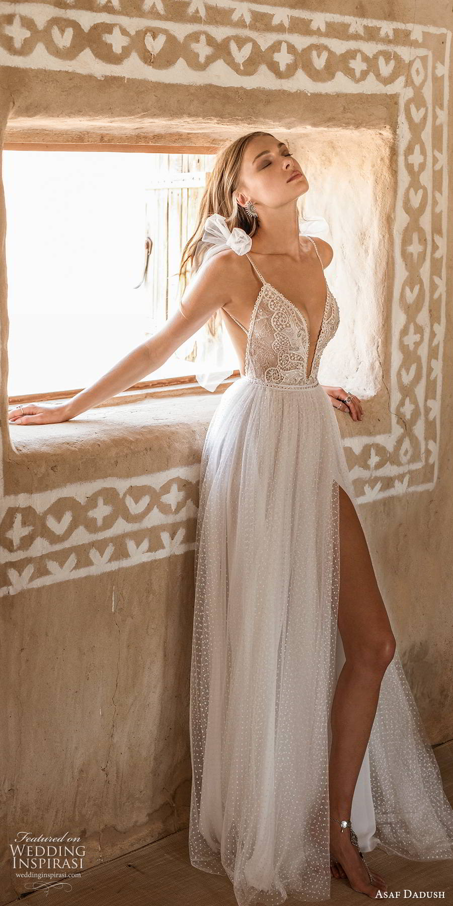 asaf dadush 2019 bridal sleeveless thin straps plunging v neckline fully embellished slit skirt lace soft a line wedding dress sweep train (7) mv