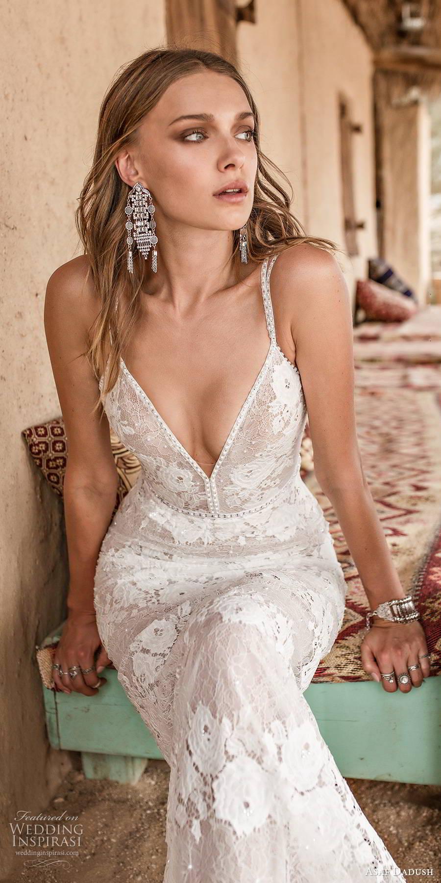 asaf dadush 2019 bridal sleeveless thin straps sweetheart neckline fully embellished lace sexy sheath wedding dress scoop back (2) zv