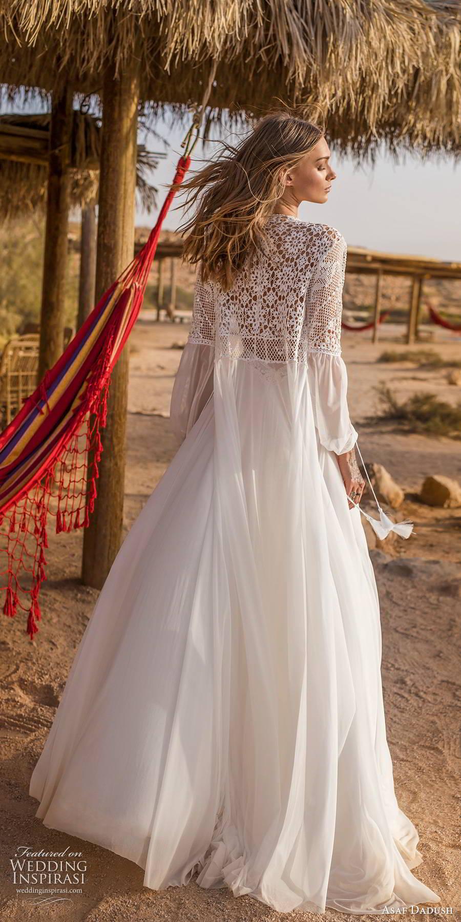 asaf dadush 2019 bridal sleeveless thin straps v neckline embellished bodice clean slit skirt boho romantic a line wedding dress jacket (9) bv