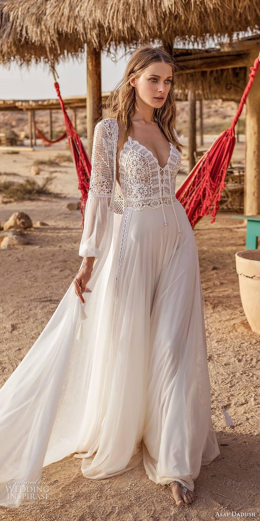 asaf dadush 2019 bridal sleeveless thin straps v neckline embellished bodice clean slit skirt boho romantic a line wedding dress jacket (9) mv