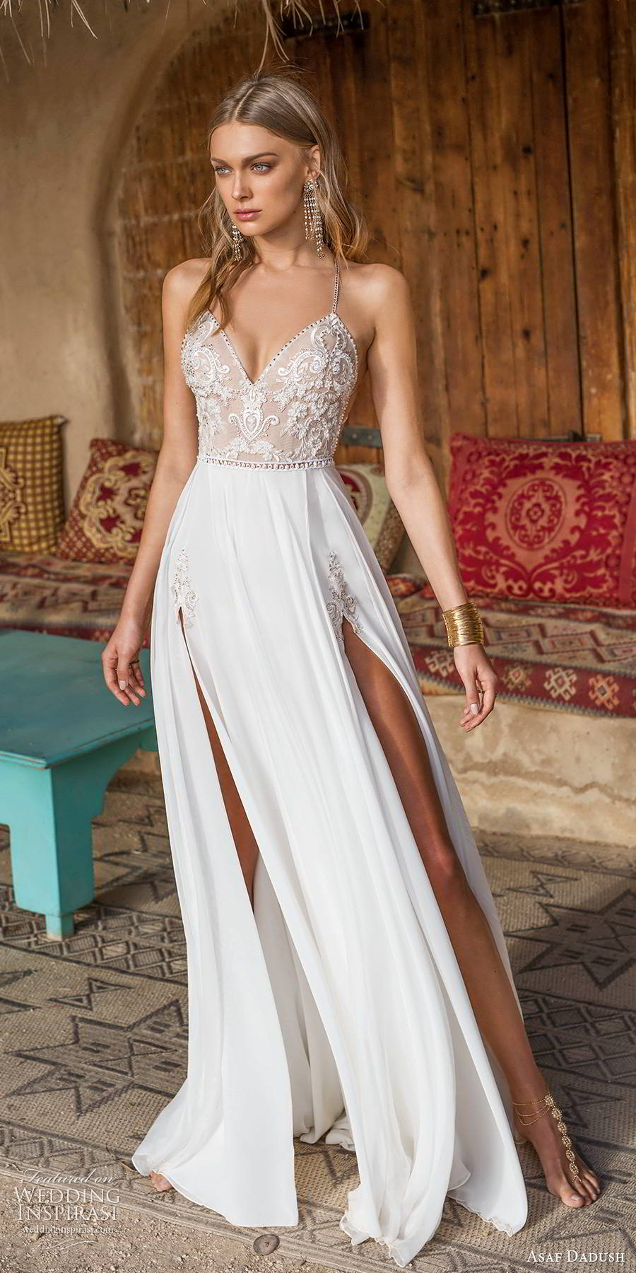 asaf dadush 2019 bridal sleeveless thin straps v neckline embellished bodice double slit skirt glam sexy a line wedding dress (5) mv