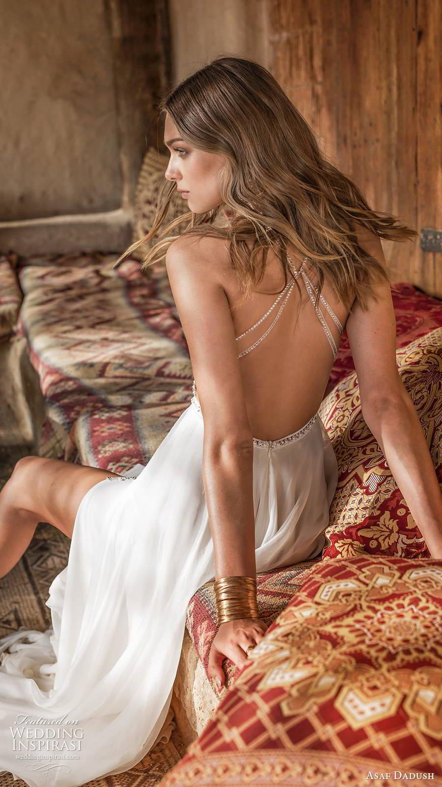 asaf dadush 2019 bridal sleeveless thin straps v neckline embellished bodice double slit skirt glam sexy a line wedding dress (5) zbv