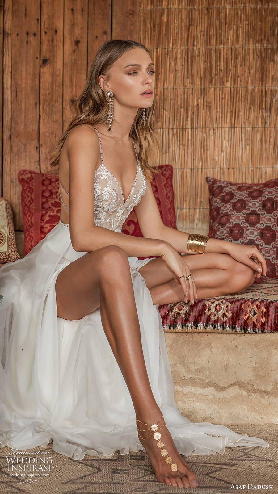 asaf dadush 2019 bridal sleeveless thin straps v neckline embellished bodice double slit skirt glam sexy a line wedding dress (5) zsv