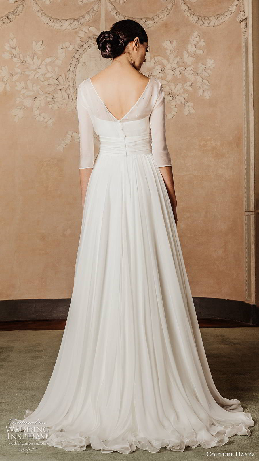 couture hayez 2020 bridal illlusion 3 quarter sleeves sheer bateau neckline semi sweetheart embellished bodice a line wedding dress (1) elegant romantic sweep train bv