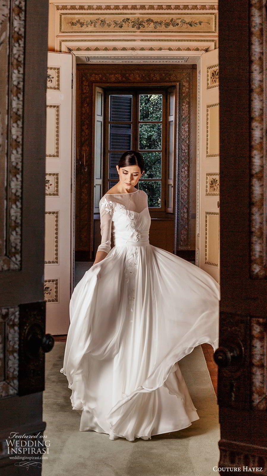 couture hayez 2020 bridal illlusion 3 quarter sleeves sheer bateau neckline semi sweetheart embellished bodice a line wedding dress (1) elegant romantic sweep train mv