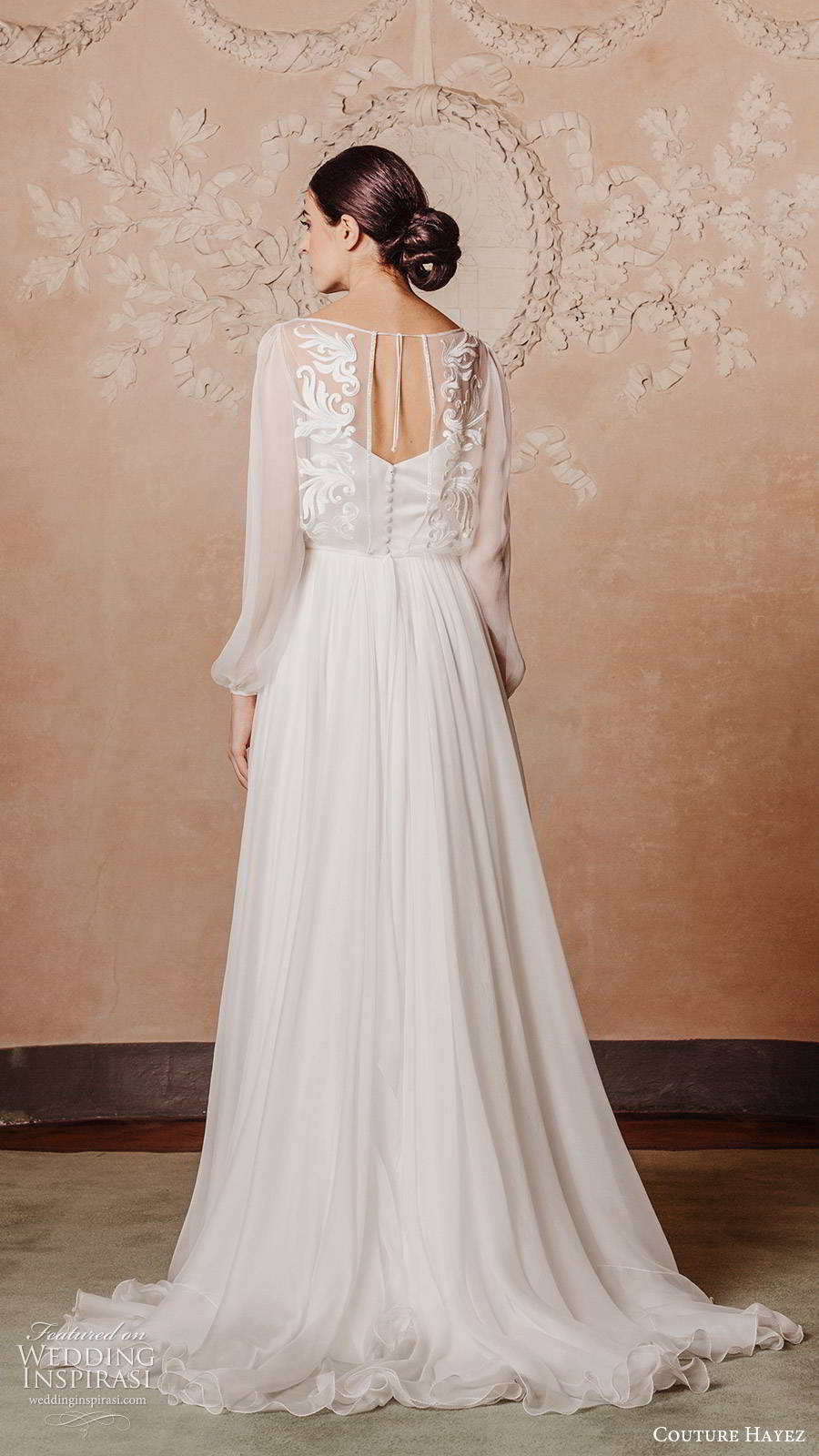 couture hayez 2020 bridal sheer bishop sleeves bateau neckline embellished bodice a line wedding dress (5) boho chic romantic chapel train bv